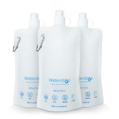 Waterdrop Collapsible Water Pouch, for Portable Water Filter Straw, Pack of 3