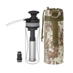 Waterdrop Outdoor Portable Water Filter Pump with Ceramic Filter,Portable Hiking Water Filtration System for Survival, Backpacker, tour and Emergency Preparedness, 25 oz