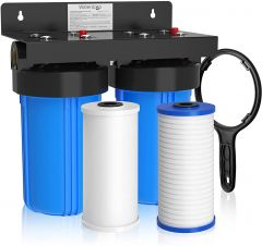 """Waterdrop Whole House Water Filtration System, WHF21-PG 5 Micron Water Filtration System with 10"""" x 4.5"""" Sediment Filer and Carbon Filter, Highly Reduce Chlorine, Lead, Taste, and Odor, 1"""" Inlet/Outlet"""